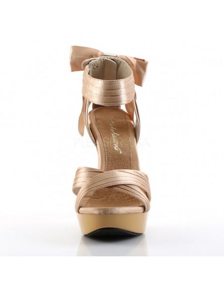 Preciosa sandalia sexy Pleaser de plataforma baja y lazo de satén