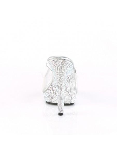Zuecos Pleaser de empeine transparente y plataforma baja recubierta de strass