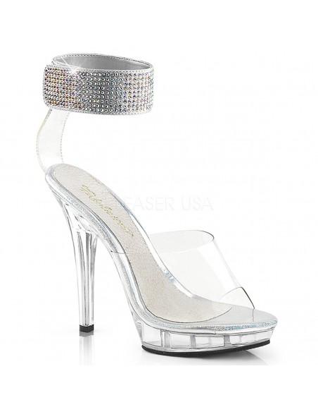 Sandalias stiletto de Pleaser plataforma baja y pulsera ancha de strass