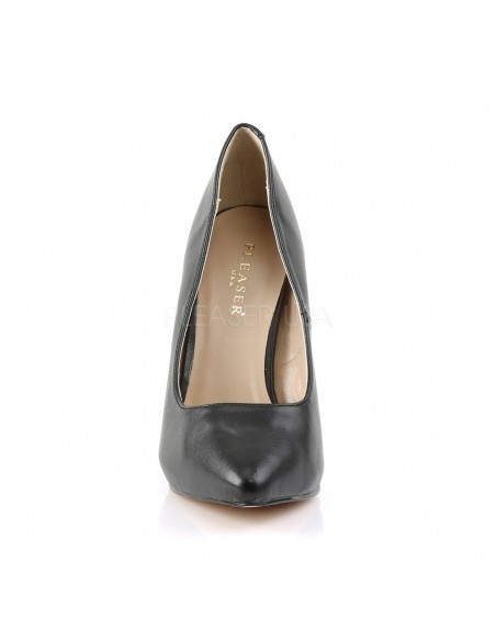 Elegantes zapatos de cuero sintético con punta fina y tacón de aguja