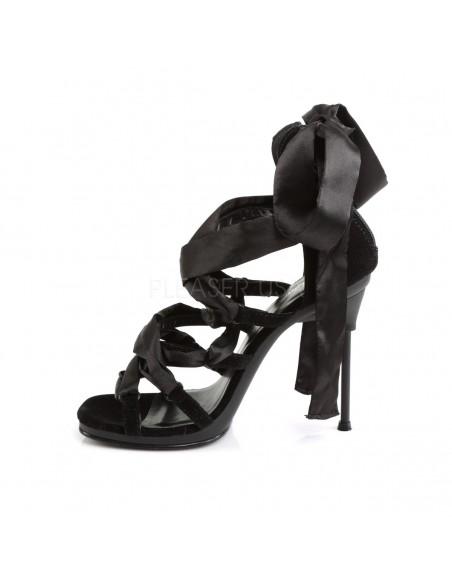 Preciosa sandalia Pleaser con tacón de aguja y cintas cruzadas