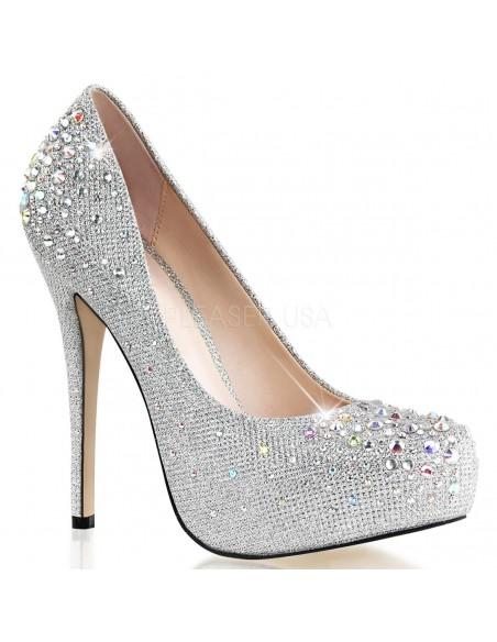 Lujosos zapatos Pleaser en tejido de diamante y pedrería brillante