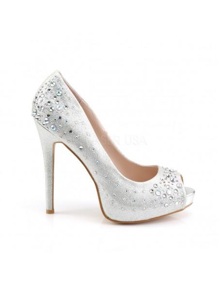 Lujosos zapatos Pleaser estilo Peeptoe en tejido de diamante y pedrería brillante