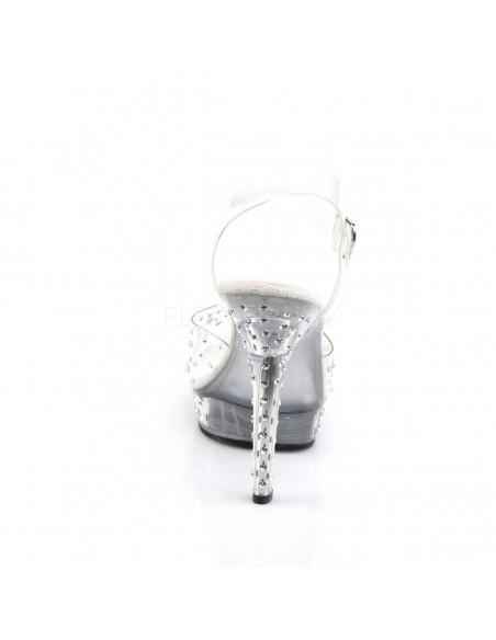 Sandalia de plataforma atados al tobillo decorados con strass brillante