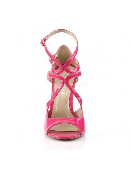 Exóticas sandalias de charol brillante con tacón de aguja y doble correa