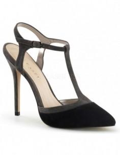 Sandalias de terciopelo en dos tonos con tacón de aguja
