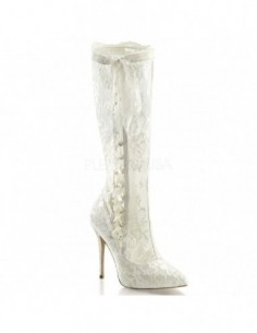 Exóticas botas hechas de fino encaje transparente con lazada