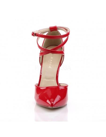 Zapatos clásicos estilo Dorsay de charol brillante con correas cruzadas
