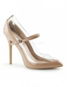 Elegantes zapatos de charol brillante combinado con transparente y correa