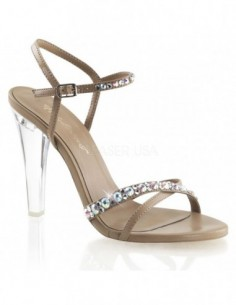 Sandalia transparente sin plataforma con correa al tobillo
