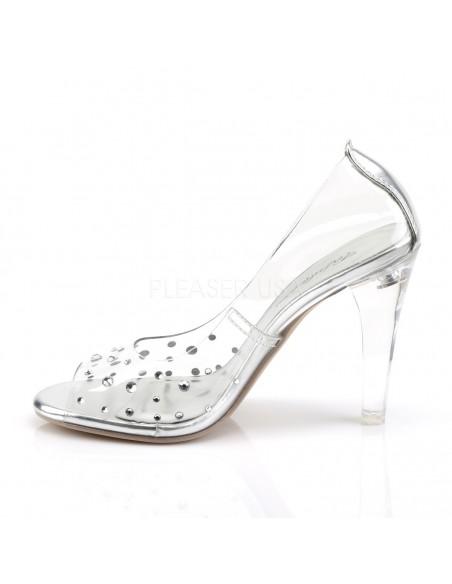 Zapatos estilo Peep Toe todo transparente decorado con pedrería