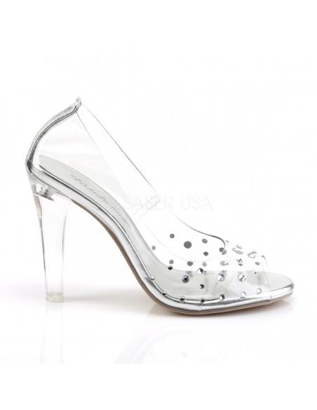 Zapatos estili Peep Toe todo transparente decorado con pedrería