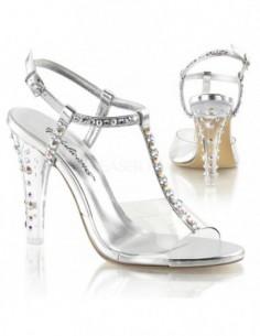 Elegantes sandalias decoradas con fina pedrería brillante con correa