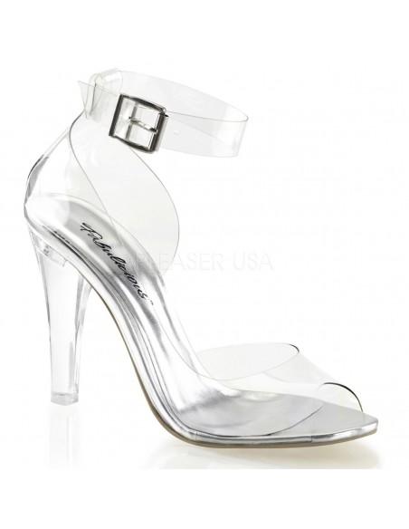 Elegantes sandalias transparentes abiertas al frente con correa