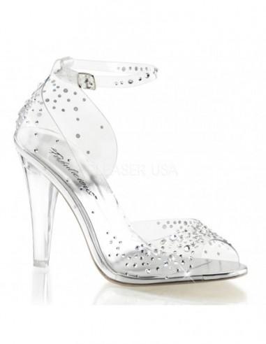 Elegantes sandalias transparentes decoradas con pedrería brillante