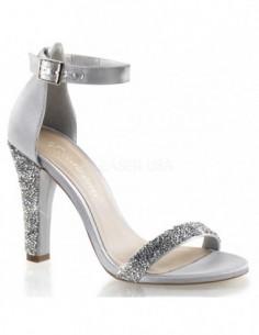 Elegantes sandalias de satén con fina pedrería brillante con correa