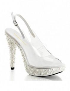 Lujosas sandalias de plataforma decoradas con perlas