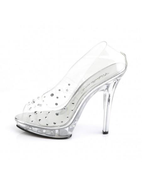 Zapatos de cenicienta totalmente transparentes decorados con strass