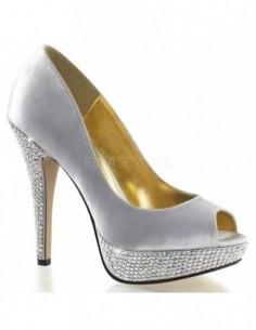 Lujosos zapatos de tacón alto y plataforma con pedrería brillante