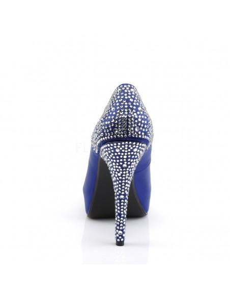Zapatos estilo Peep-Toe tacón alto y plataforma con pedrería brillante