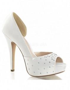 Zapatos estilo Peep-Toe plataforma y tacón alto con pedrería brillante