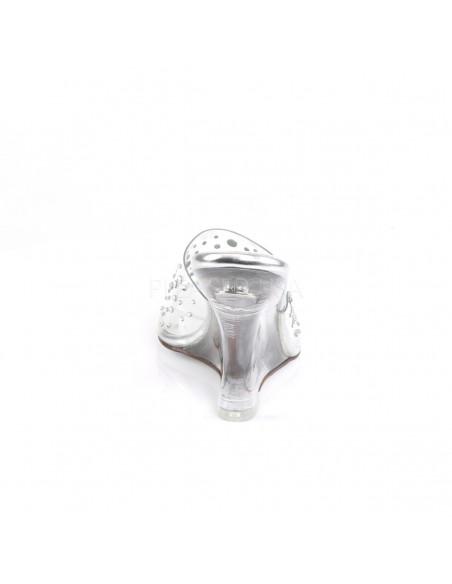 Zuecos transparentes para competiciones con tacón de cuña y pedrería