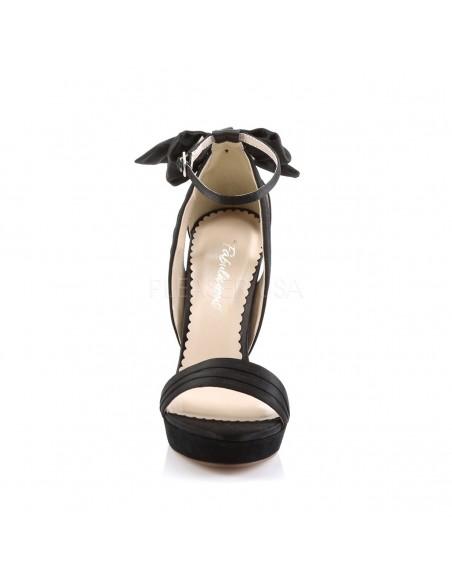 Elegantes sandalias de satén y plataforma baja con lazo decorativo