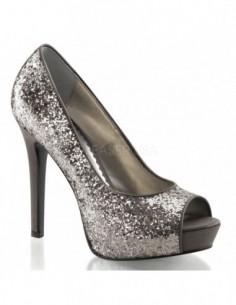 Zapatos de plataforma baja estilo Peep-Toe recubiertos de purpurina