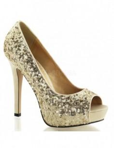 Zapatos de plataforma baja estilo Peep-Toe recubiertos de lentejuelas
