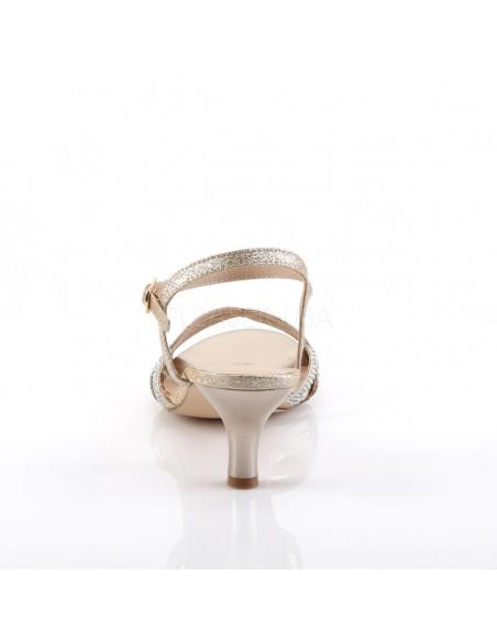 Sandalias tacón bajo y bandas cruzadas con pedrería y correa al tobillo