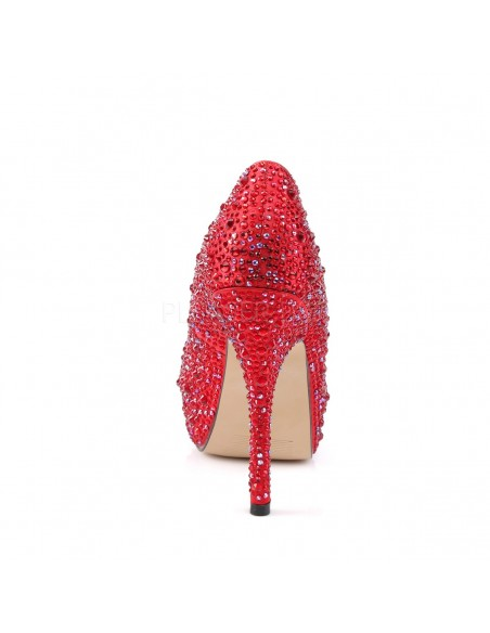 Lujosos zapatos con plataforma interna recubiertos de pedrería strass