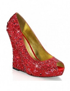 Zapatos Peep Toe con plataforma y tacón cuña recubiertos de pedrería