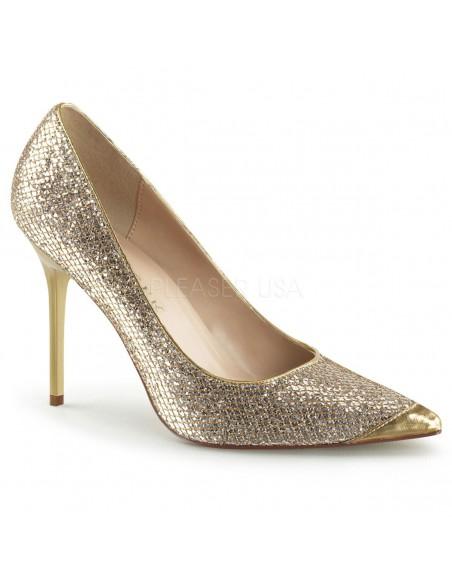 Zapatos de salón Classique-20 lamé brillante tacón aguja talla 35 a 48