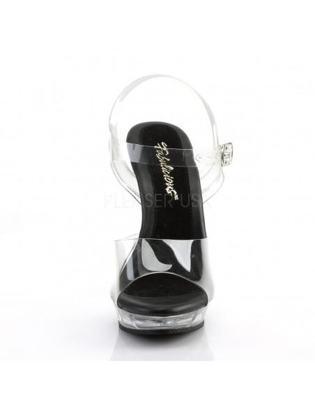 Sandalia plataforma transparente correa al tobillo y plantilla negra