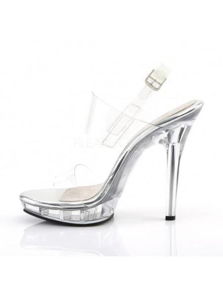Sandalia plataforma transparente y doble banda con correa al tobillo