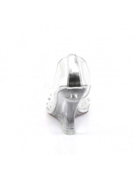 Zapatos transparentes efecto cristal con tacón en cuña y pedrería