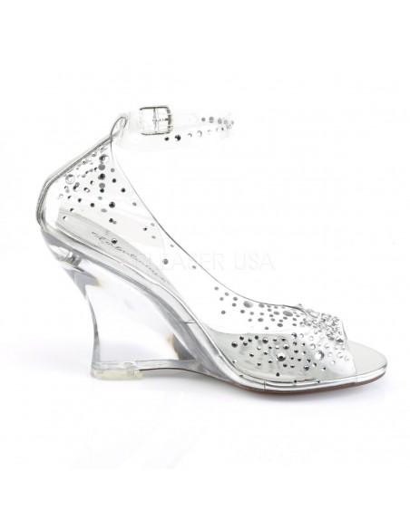 Zapatos transparentes efecto cristal y tacón en cuña pedrería y correa