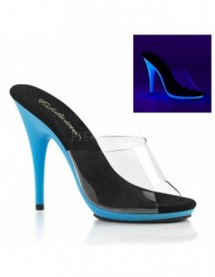 Zuecos tacón alto y pequeña plataforma en color neón reactivo a luz UV