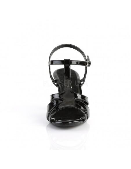 Sandalias de charol y tacón bajo con correas cruzadas en talla 35 a 48