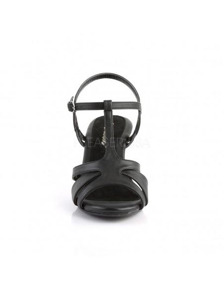 Sandalias de polipiel y tacón bajo con correas cruzadas talla 35 a 48