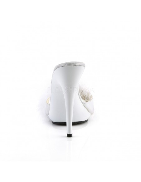Zuecos de tacón alto y pequeña plataforma con plumón de Marabou