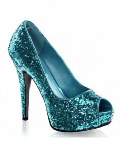 Zapatos de estilo Peep Toe recubiertos de purpurina