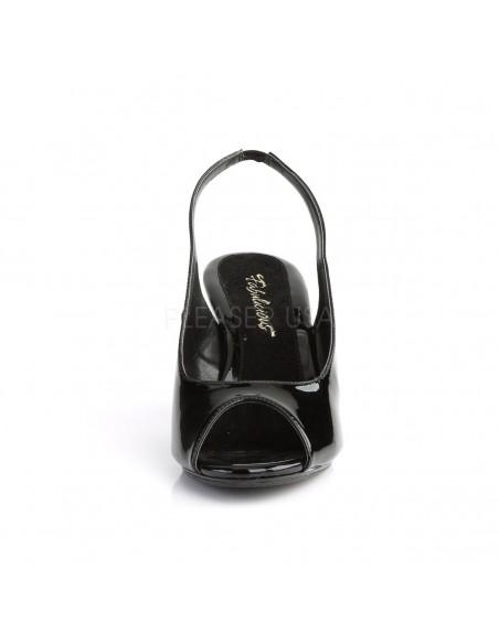 Sandalias Peep Toe de tacón bajo fabricadas en charol desde talla 35 a 48