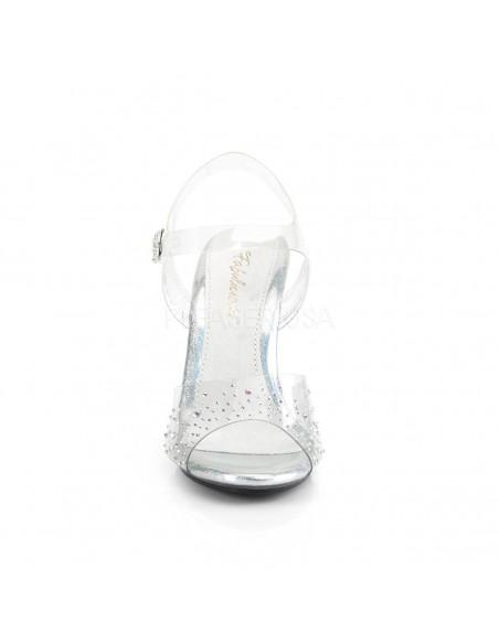 Sandalias efecto cristal transparentes decoradas con pedrería brillante