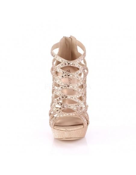 Sandalias de ligera plataforma con bandas cruzadas y pedrería brillante