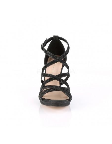 Sandalias de bandas cruzadas y pedrería brillante. Con ligeraplataforma
