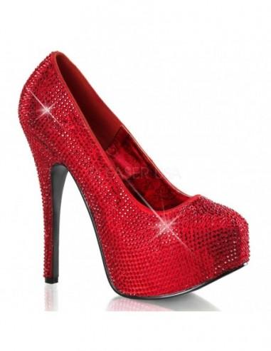 Zapatos Bordello de ancho especial con plataforma y recubiertos de pedrería brillante