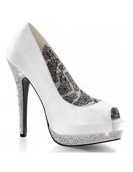 Zapatos Bordello de estilo PeepToe recubiertos de strass