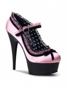 Novedoso zapato plataforma en saten punta redonda y ribetes en tul con lazo