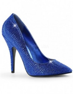 Zapato clásico de salón y tacon aguja recubierto de strass brillante